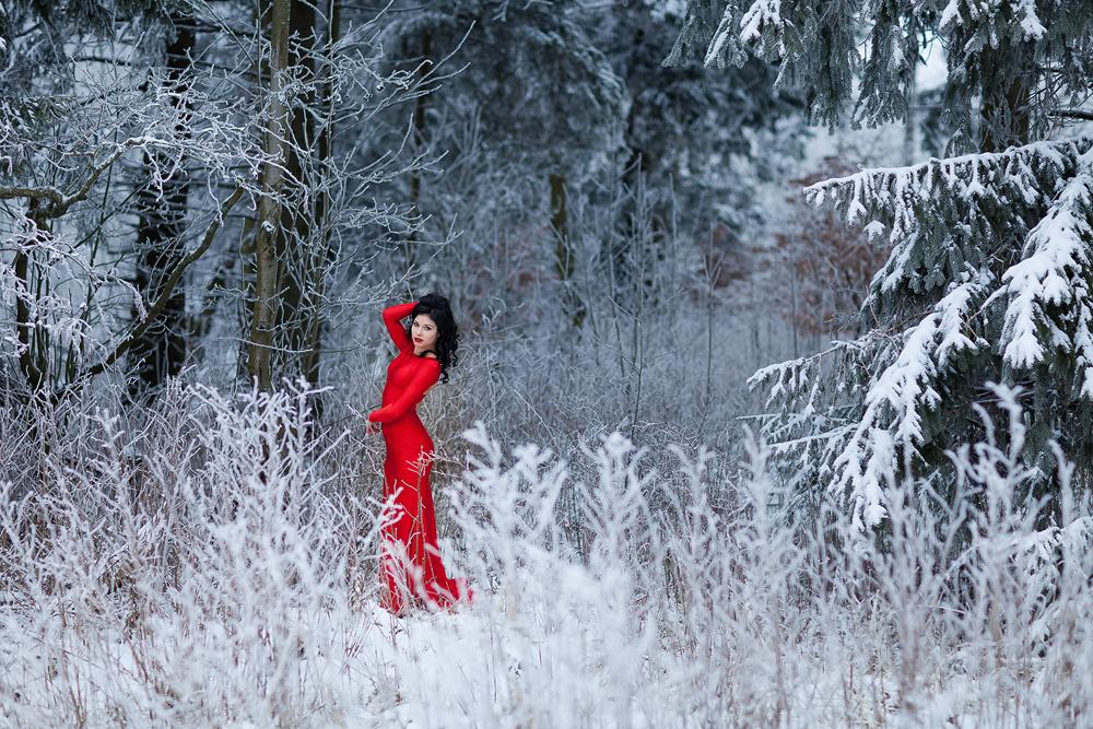 Rotes Kleid Im Schnee Ronny Lorenz Photography